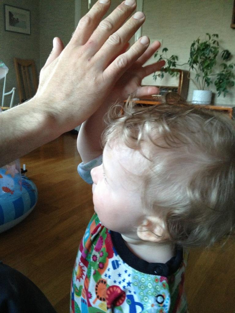 Ivar och Jörgen gör en high five