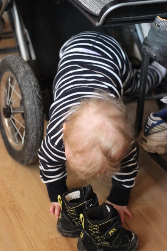 Ivar på väg ur barnvagnskorgen.